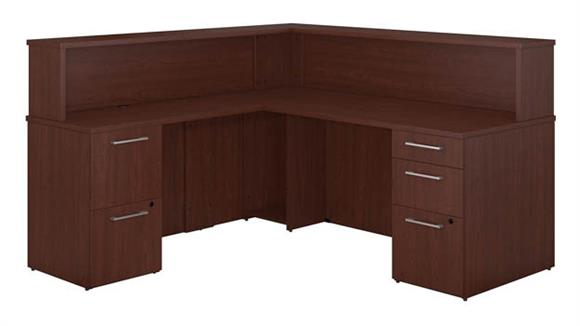 L Shaped Desks Bush L Shaped Reception Desk with 2 and 3 Drawer Pedestals