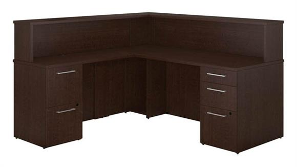 Reception Desks Bush L Shaped Reception Desk with Pedestals