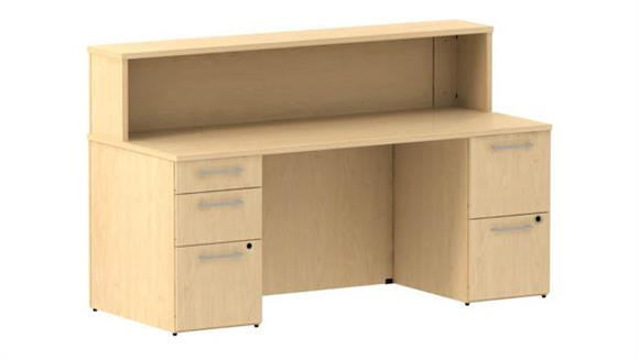 "Reception Desks Bush 72""W x 30""D Reception Double Pedestal Desk"