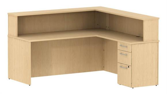 "Reception Desks Bush 72""W Reception L Shaped Desk with Pedestal"