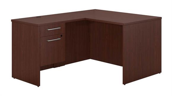 "Executive Desks Bush 48""W x 30""D L Shaped Office Desk with 3/4 Pedestal and Return"