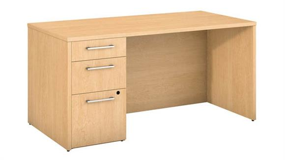 "Executive Desks Bush 60""W x 30""D Office Desk with 3 Drawer Pedestal"