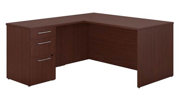 "Executive Desks Bush 60""W x 30""D L Shaped Office Desk With 3 Drawer Pedestal and Return"