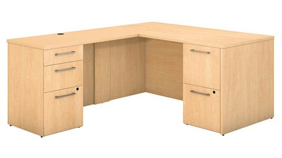 "Executive Desks Bush 60""W x 30""D L Shaped Office Desk with 2 and 3 Drawer Pedestals and Return"