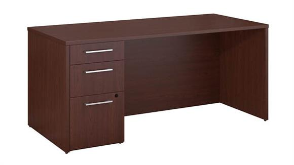 "Executive Desks Bush 66""W x 30""D Office Desk with 3 Drawer Pedestal"
