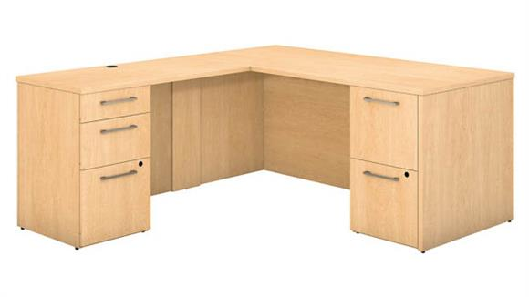 "Executive Desks Bush 66""W x 30""D L Shaped Office Desk with 2 and 3 Drawer Pedestals and Return"