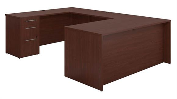 "U Shaped Desks Bush 66""W x 30""D U Shaped Office Desk with 2 and 3 Drawer Pedestals and Bridge"