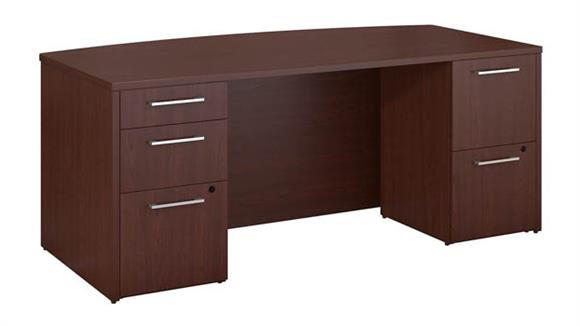 "Executive Desks Bush 72""W x 36""D Bow Front Desk with 2 and 3 Drawer Pedestals"