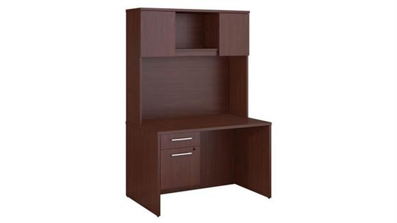 "Executive Desks Bush 48""W x 30""D Office Desk with Hutch and 3/4 Pedestal"
