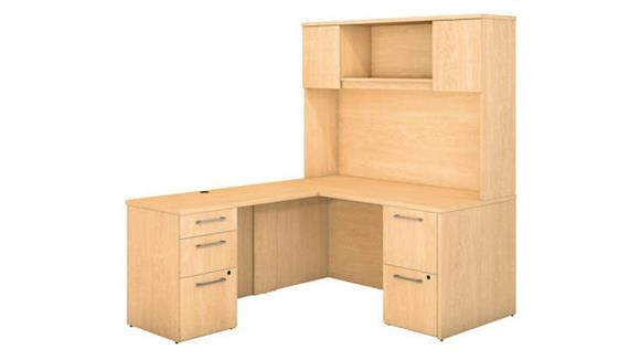 "L Shaped Desks Bush 60""W x 30""D L Shaped Office Desk with Hutch, 2 Pedestals and Return"