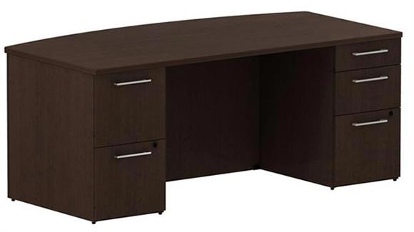 "Executive Desks Bush 72""W x 36""D Bow Front/Breakfront Desk with 2 and 3 Drawer Pedestals"