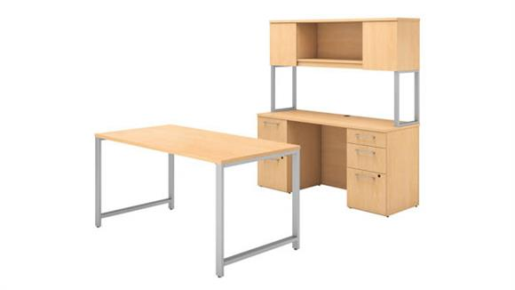 "Computer Desks Bush 60""W x 30""D Table Desk, Credenza with File Drawers and Hutch"