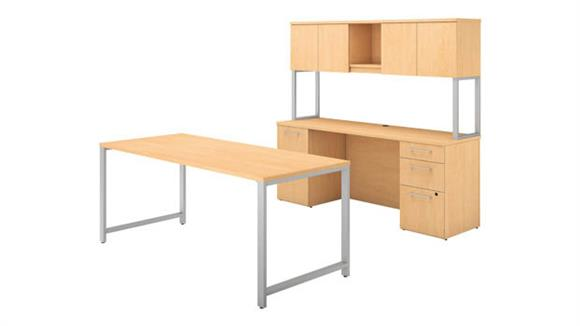 "Computer Desks Bush 72""W x 30""D Table Desk, Credenza with File Drawers and Hutch"