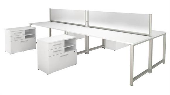 """Workstations & Cubicles Bush 72""""W x 30""""D 4 Person Workstation with Table Desks and Storage"""
