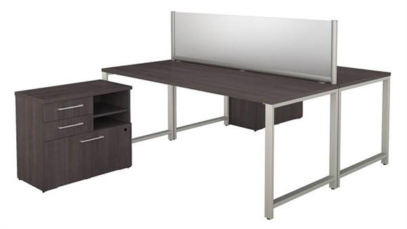 """Workstations & Cubicles Bush 72""""W x 30""""D 2 Person Workstation with Table Desks and Storage"""