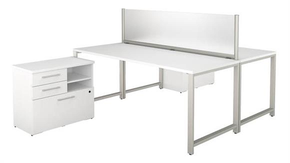 "Workstations & Cubicles Bush 72""W x 30""D 2 Person Workstation with Table Desks and Storage"