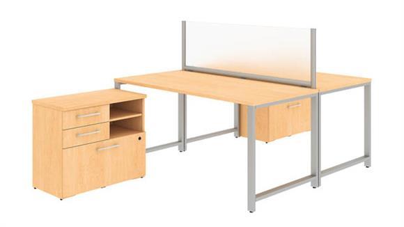 """Computer Desks Bush 60""""W x 30""""D 2 Person Workstation with Table Desks and Storage"""