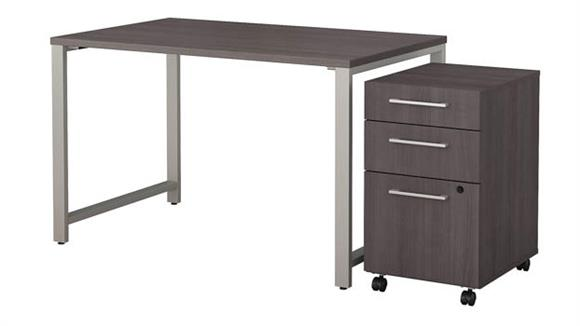 """Computer Tables Bush 48""""W x 30""""D Table Desk with 3 Drawer Mobile File Cabinet"""