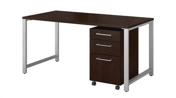 "Computer Desks Bush 60""W x 30""D Table Desk with 3 Drawer Mobile File Cabinet"