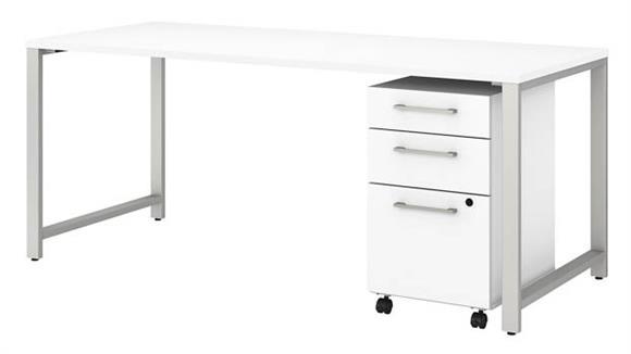 "Computer Desks Bush 72""W x 30""D Table Desk with 3 Drawer Mobile File Cabinet"