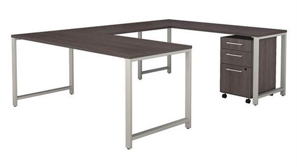 """U Shaped Desks Bush 72""""W x 30""""D  U-Shaped Table Desk with 3 Drawer Mobile File Cabinet"""