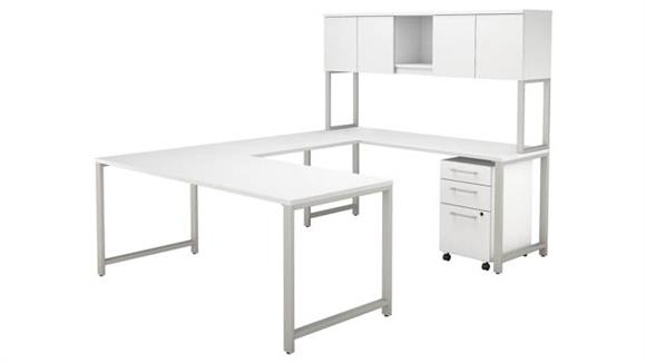 "U Shaped Desks Bush 72""W x 30""D  U-Shaped Table Desk with Hutch and 3 Drawer Mobile File Cabinet"