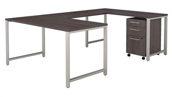 "U Shaped Desks Bush 60""W x 30""D  U-Shaped Table Desk with 3 Drawer Mobile File Cabinet"