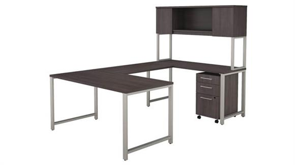 "U Shaped Desks Bush 60""W x 30""D  U-Shaped Table Desk with Hutch and 3 Drawer Mobile File Cabinet"