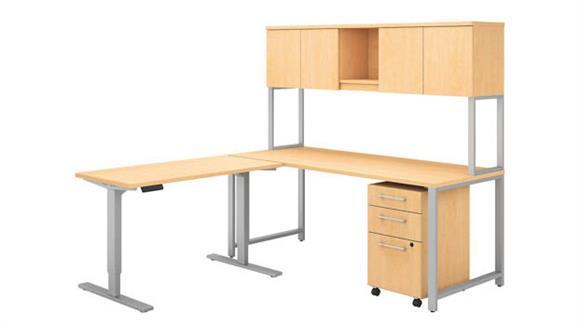"Computer Desks Bush 72""W L Shaped Desk with Height Adjustable Return, Hutch and Storage"