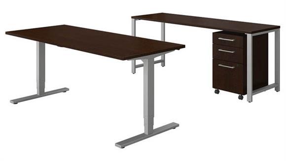 "Computer Desks Bush 72""W x 30""D Height Adjustable Standing Desk with Credenza and Storage"