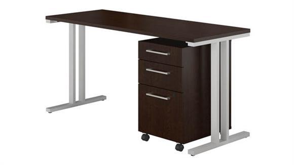 "Computer Desks Bush 48""W x 24""D Table Desk with 3 Drawer Mobile File Cabinet"