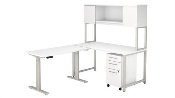 "Adjustable Height Desks & Tables Bush 60""W  L-Shaped Desk with Height Adjustable Return, Hutch and 3 Drawer Mobile File Cabinet"