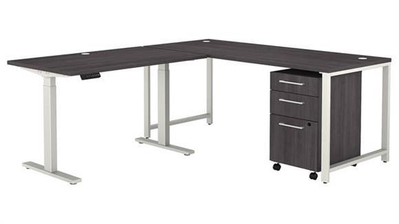 "Adjustable Height Desks & Tables Bush 72""W L-Shaped Desk with Height Adjustable Return and 3 Drawer Mobile File Cabinet"