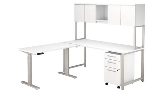 "Adjustable Height Desks & Tables Bush 72""W L-Shaped Desk with Height Adjustable Return, Hutch and 3 Drawer Mobile File Cabinet"