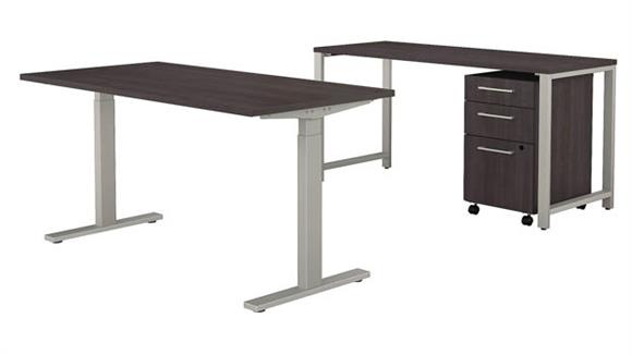 """Adjustable Height Desks & Tables Bush 60""""W x 30""""D Height Adjustable Standing Desk with Credenza and 3 Drawer Mobile File Cabinet"""