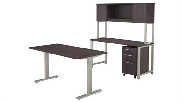 """Adjustable Height Desks & Tables Bush 60""""W x 30""""D Height Adjustable Standing Desk with Credenza, Hutch and 3 Drawer Mobile File Cabinet"""