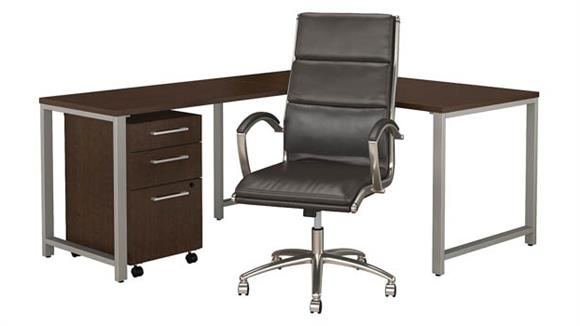 """L Shaped Desks Bush 60""""W x 30""""D L Shaped Desk with Mobile File Cabinet and High Back Office Chair"""