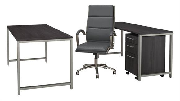 "Office Credenzas Bush 72""W x 30""D Table Desk with Credenza, Mobile File Cabinet and High Back Office Chair"