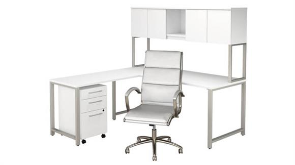 "L Shaped Desks Bush 72""W x 30""D L Shaped Desk with Hutch, Mobile File Cabinet and High Back Office Chair"