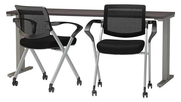 "Training Tables Bush 72""W x 24""D Training Table with Mesh Back Folding Chairs (Set of 2)"