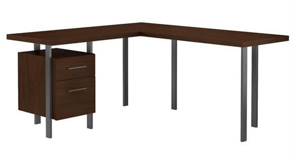 "L Shaped Desks Bush 60""W L-Shaped Desk with Drawers"