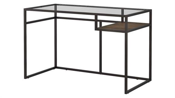 "Writing Desks Bush 48""W Glass Top Writing Desk with Shelf"