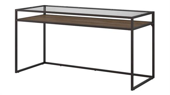 "Writing Desks Bush 60""W Glass Top Writing Desk with Shelf"