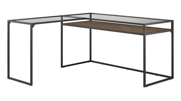 "L Shaped Desks Bush 60""W Glass Top L Shaped Desk with Shelf"