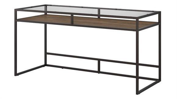 """Writing Desks Bush 60""""W Glass Top Writing Desk with Shelf"""