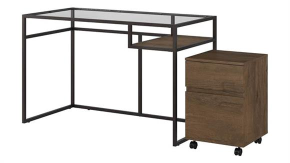 "Writing Desks Bush 48""W Glass Top Writing Desk with 2 Drawer Mobile File Cabinet"