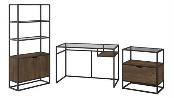 "Writing Desks Bush 48""W Glass Top Writing Desk with Bookcase and Lateral File Cabinet"