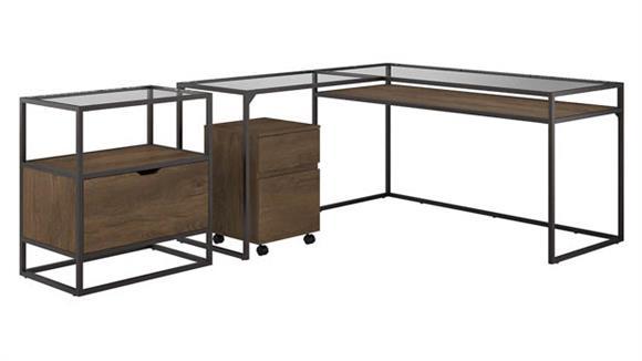 "L Shaped Desks Bush 60""W Glass Top L Shaped Desk with File Cabinets"
