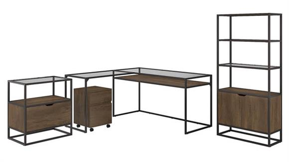 """L Shaped Desks Bush 60""""W Glass Top L Shaped Desk with Bookcase and File Cabinets"""