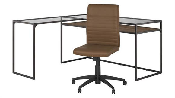 "L Shaped Desks Bush 60""W Glass Top L Shaped Desk with Mid Back Ribbed Leather Office Chair"